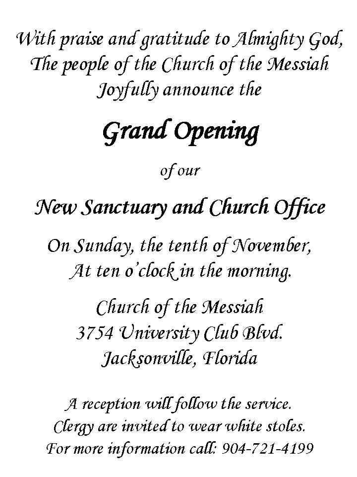 Grand Opening Invitation The Church Of The Messiah
